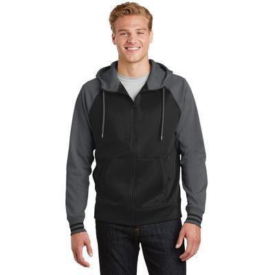 Sport-Tek ST236 Sport-Wick Varsity Fleece Full-Zip Hooded Jacket in Black/Dark Smoke Grey size Large   Polyester