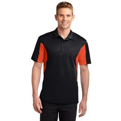 Sport-Tek ST655 Side Blocked Micropique Sport-Wick Polo Shirt in Black/Deep Orange size 4XL   Polyester