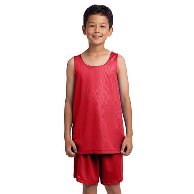 Sport-Tek YST500 Athletic Youth PosiCharge Classic Mesh Reversible Tank Top in True Red size Large   Polyester