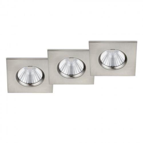 TRIO Zagros 3er Set LED Einbauleuchte/Spot, B: 8,5 H: 8,5 T: 5,4 cm, nickel matt 650610307, EEK: A+