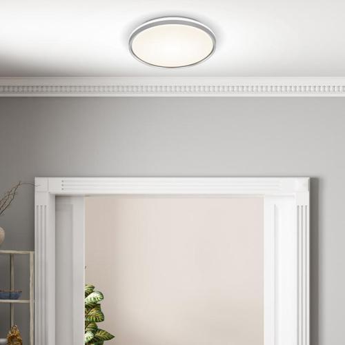 FISCHER & HONSEL Jaso BS LED Deckenleuchte mit Bewegungsmelder Ø 39 H: 7,5 cm, silber/weiß 20886, EEK: A+