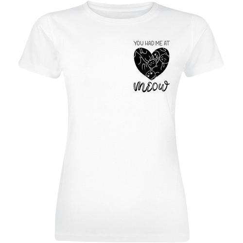 janina_miau Meow Damen-T-Shirt - weiß