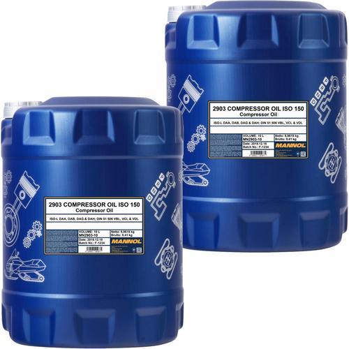 2x 10l = 20l Mannol Kompressor Öl Iso 150 Din 51506 (vbl) Iso L-daa L-dab L-dag