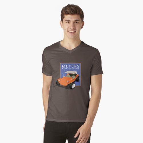 Dune Buggy Manx Orange Blue Box t-shirt:vneck