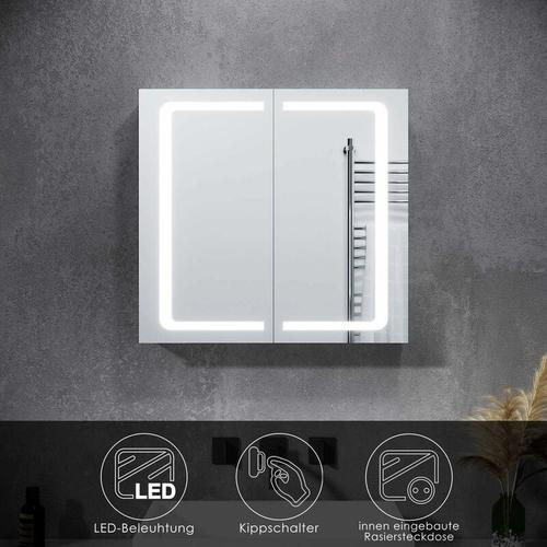 Spiegelschrank LED mit Beleuchtung Steckdose Kippschalter Badspiegel Badschrank Hochglanz 70x65cm