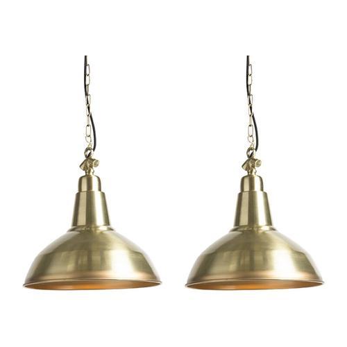 Qazqa - 2er Set Art Deco Hängelampen Gold / Messing - Goliath groß