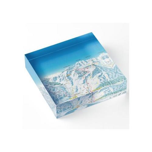 Skigebiet St. Moritz Diavolezza Karte Acrylblock
