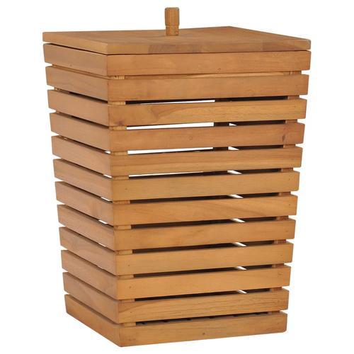 vidaXL Wäschekorb 30×30×45 cm Teak Massivholz