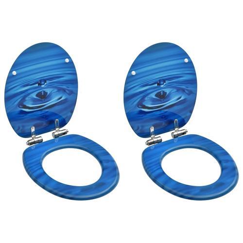 vidaXL Toilettensitze Soft-Close-Deckel 2 Stk. MDF Blau Wassertropfen