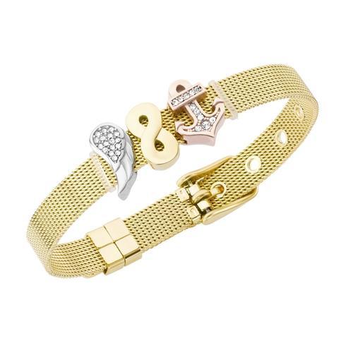 Jacques Charrel Armband Milanaise mit Kristallsteinen Flügel, Infinity, Anker bunt Damen Armketten Armbänder Schmuck