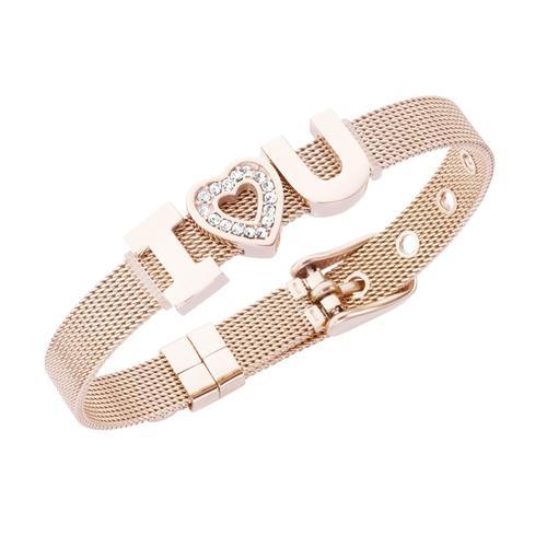 Jacques Charrel Armband Milanaise mit Kristallsteinen I Love You rosa Damen Armketten Armbänder Schmuck