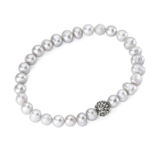 Smart Jewel Armband auf Gummifaden mit Süßwasserperlen und Kristallsteinen silberfarben Damen Armketten Armbänder Schmuck