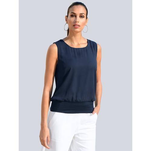 Alba Moda, Top mit elastischem Bündchen, blau
