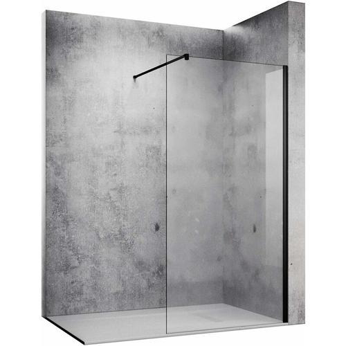 10mm Walk in Dusche Duschwand Duschwände Duschabtrennung Schwarz NANO Echtglas 80x200cm