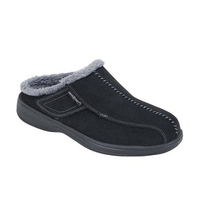 Asheville Men's Black Arch Support Slippers | OrthoFeet, 9 / Wide / Black
