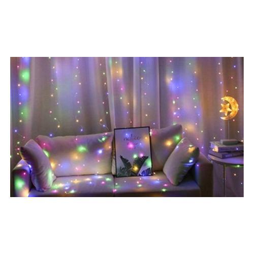 Lichtervorhang für Fenster: 300 lED / 3/ Weißlicht