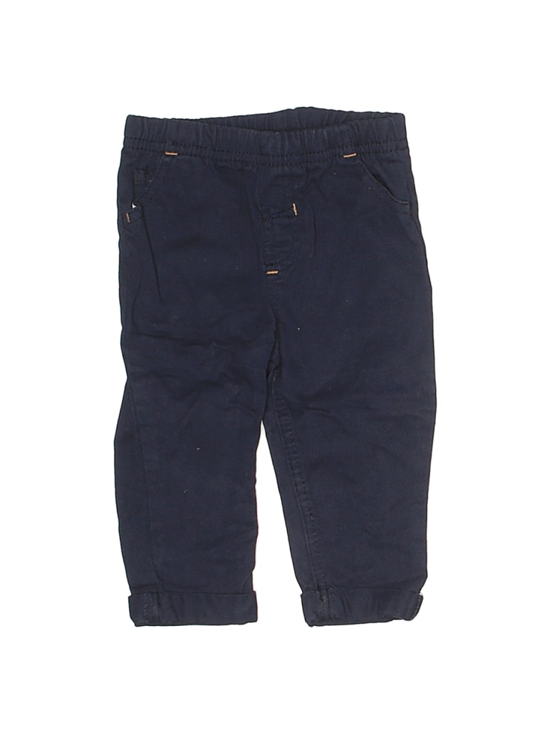 Assorted Brands Khaki Pant: Blue Solid Bottoms - Size 6-9 Month