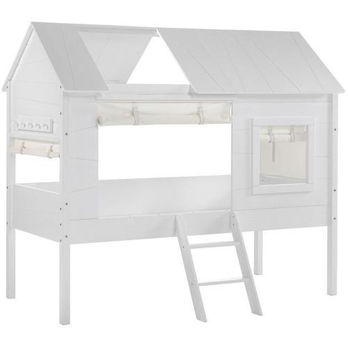 Hausbett Jelany Vipack inkl Dachüberbau + Vorhangset Baumhaus-Design hochwertiges MDF Holz 90*200