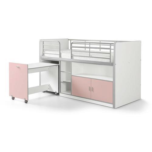 Kindermoebel-24shop - Hochbett Tomek inklusive Schreibtisch weiß - rosa EN 747-1+2