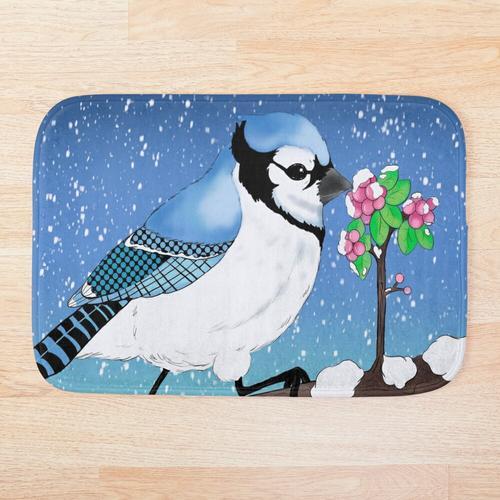 Winter Blue Jay Badematte