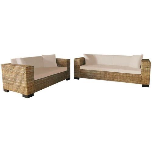 Sofa-Set 2-Sitzer und 3-Sitzer Echtes Rattan 17400 - Topdeal