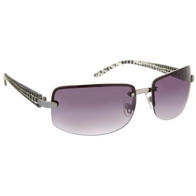 Bay Studio Womens Silver Tone & Black Rectangle Sunglasses