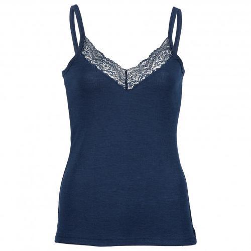 Engel - Women's Top mit Spitze - Seidenunterwäsche Gr 34/36 blau