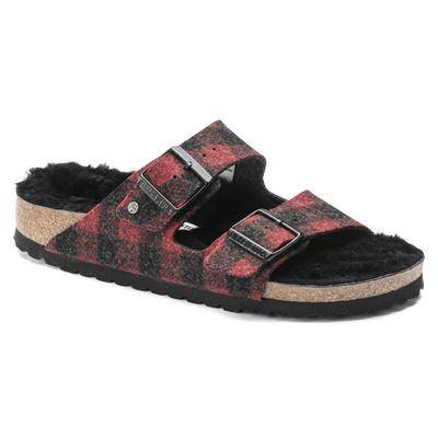 BIRKENSTOCK Arizona Shearling Plaid Red Two-Strap Sandals