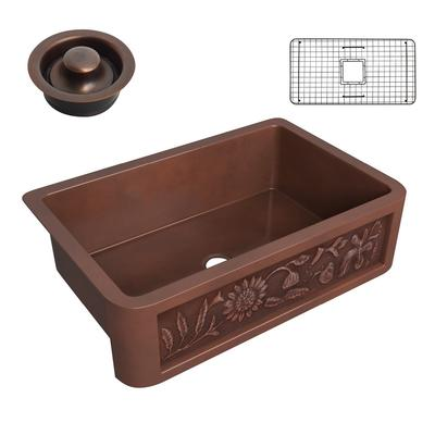 Anatolian Farmhouse Handmade Copper 33 in. 0-Hole Single Bowl Kitchen Sink with Sunflower Design Panel in Polished Antique Copper - ANZII SK-012