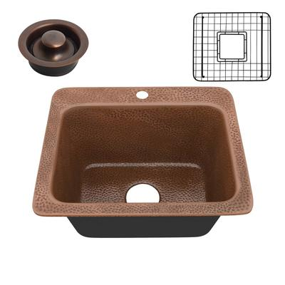 Manisa Drop-in Handmade Copper 18 in. 1-Hole Single Bowl Kitchen Sink in Hammered Antique Copper - ANZII SK-030