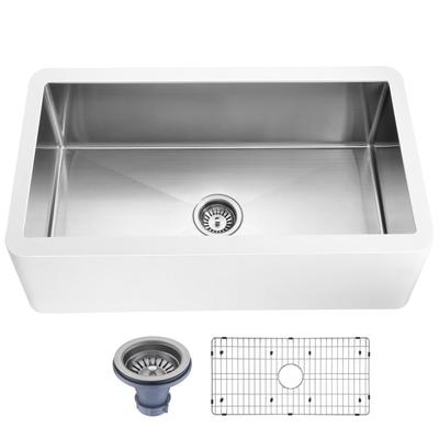 Apollo Series Farmhouse Solid Surface 36 in. 0-Hole Single Bowl Kitchen Sink with Stainless Steel Interior in Matte White - ANZII K-AZ271-A1