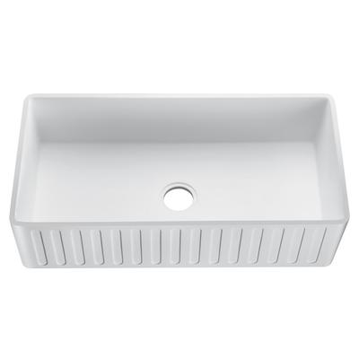Roine Farmhouse Reversible Apron Front Solid Surface 33 in. Single Basin Kitchen Sink in White - ANZII K-AZ227-1A