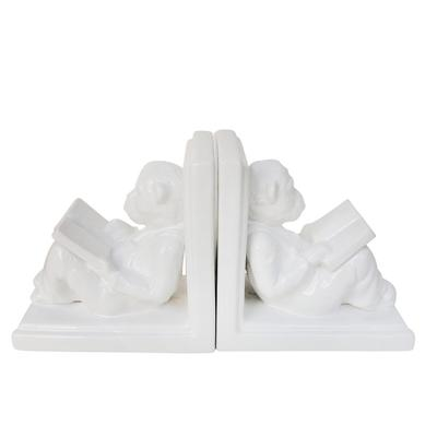 """"""" Ceramic 7""""""""H Reading Monkey Bookends, White - Sagebrook Home 15080"""""""