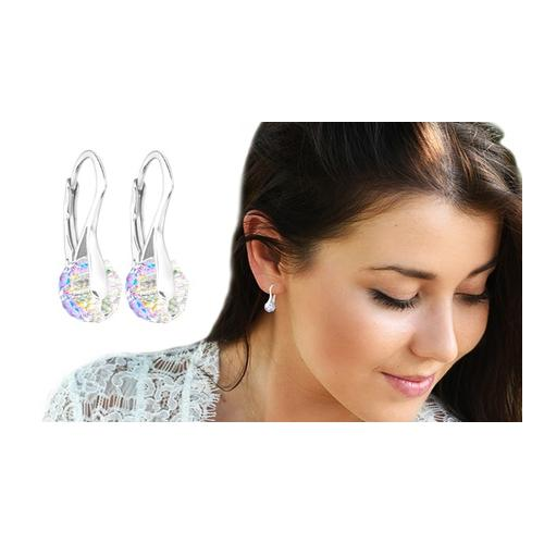 Ah! Jewellery Ohrringe mit Swarovski®-Kristallen: 2 Paar/ Aquamarine + Aurore Boreale