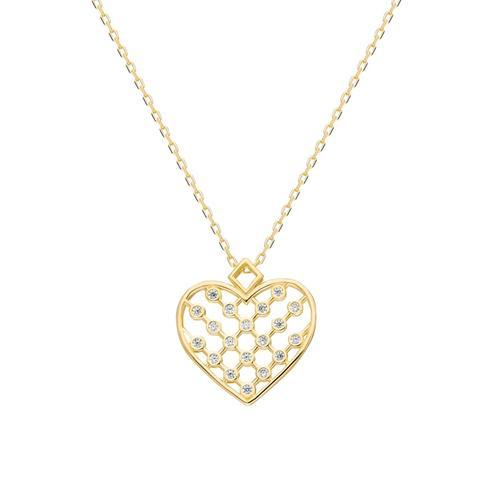 Silberkette Herz Kette Dkeniz gold