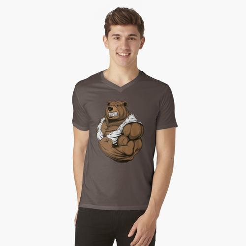 Bodybuilding-Bär t-shirt:vneck