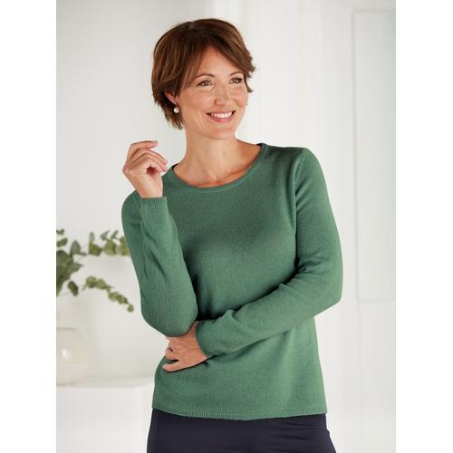 Avena Damen Kaschmir-Seide-Premium-Pullover Grün
