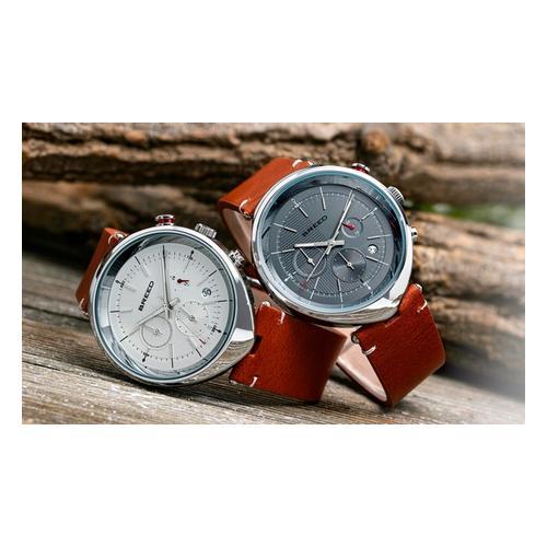 Breed Chronograph Watch mit Datum: Braun-Weiß