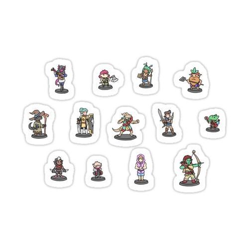 JoCat Crap Guide to D&D Class Minis Stickers Sticker