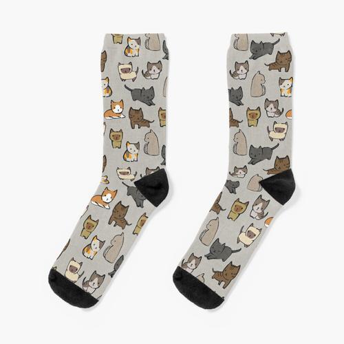 Katzen auf Silber Socken