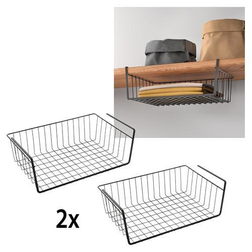 Metaltex Einhängekorb, (2 St.), Industrial Look, zum Einhängen schwarz Aufbewahrung Ordnung SOFORT LIEFEERBAR Diele Flur Einhängekorb