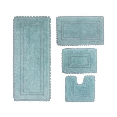 Casual Elegance 4-Pc. Bath Mat Set by Home Weavers Inc in Aqua (Size 4 RUG SET)