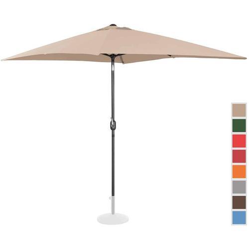 Sonnenschirm groß Gartenschirm (rechteckig, 200 x 300 cm, neigbar, creme) - Uniprodo