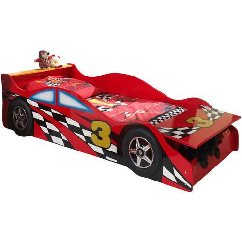 Autobett Emilio Vipack inkl. Lattenrost aus hochwertigem MDF Holz Rennwagen-Design rot in 70*140 cm