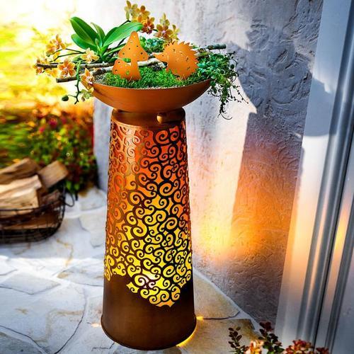 Pflanzsäule Chiara mit LED-Flammenbeleuchtung
