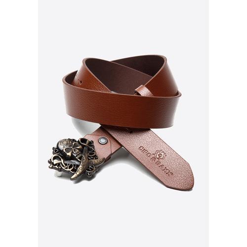 Cipo & Baxx Ledergürtel, mit cooler Totenkopfschnalle braun Damen Ledergürtel Gürtel Accessoires