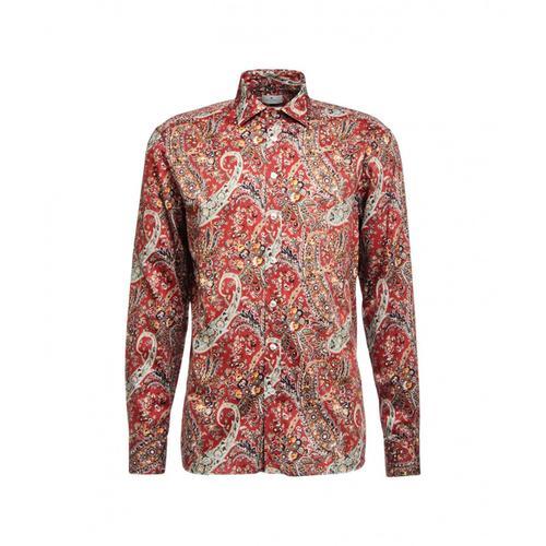 Etro Herren Hemd mit Paisley-Druck Rot