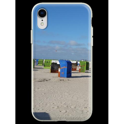 Nordsee Strand mit Strandkörben Flexible Hülle für iPhone XR