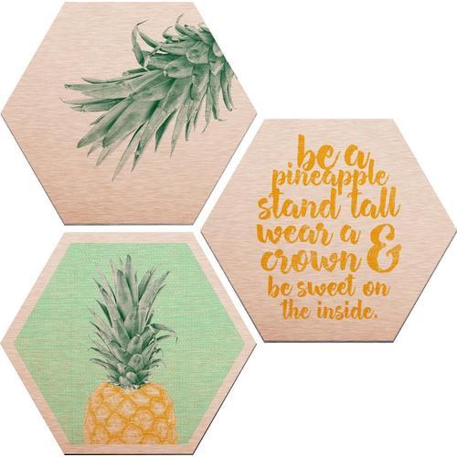 Wall-Art Alu-Dibond-Druck »Ananas«, (Set)