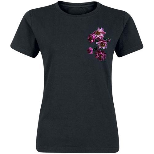 gingercat Pfingstrosen Damen-T-Shirt - schwarz